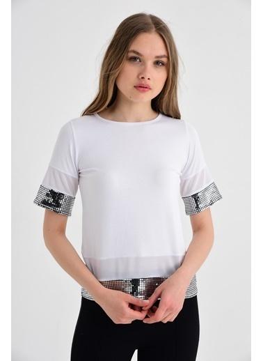 Jument Milano Tül Ve Pul Garnili Salaş Kısa Kol Bluz Beyaz
